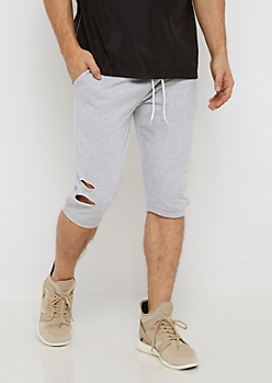 Heather Gray Torn Knit Short