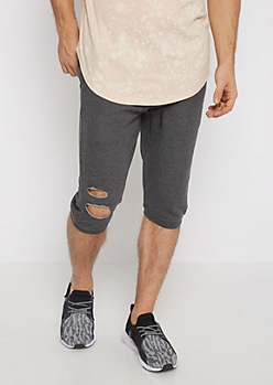 Charcoal Gray Torn Knit Short