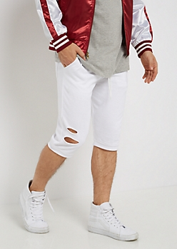 White Torn Knit Short