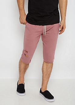 Dark Pink Torn Knit Short