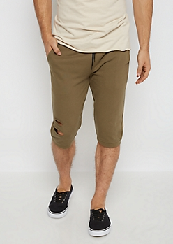 Olive Torn Knit Short