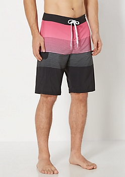 Fuchsia Gradient Striped Board Short