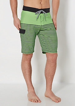 Lime Green Striped Board Short