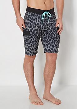 Black Leopard Board Short