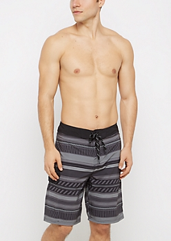 Gray Geo Striped Board Short