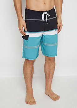 Mint Striped Board Short