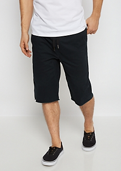 Flex Black Raw Hem Twill Jogger Short