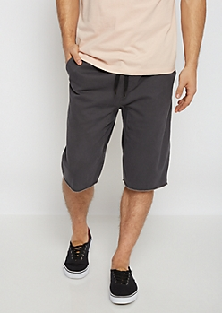 Flex Gray Raw Hem Twill Jogger Short