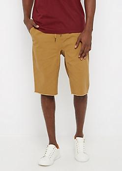 Flex Khaki Raw Hem Twill Jogger Short