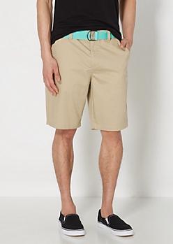 Khaki Belted Freedom Flex Twill Short
