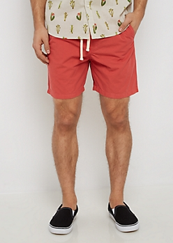 Light Red Twill Drawstring Short