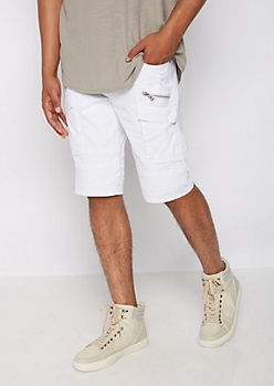 Flex White Distressed Moto Cargo Short