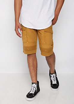 Flex Camel Distressed Moto Cargo Short