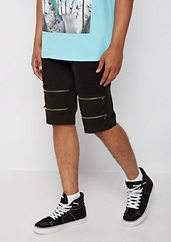 Black Moto Zipped Short
