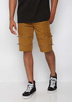 Camel Moto Zipped Short