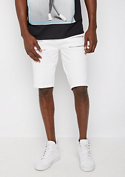 White Moto Zipped Short