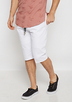 Flex White Moto Twill Short