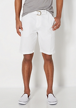 White Belted Twill Short