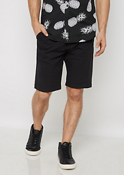 Black Belted Flex Flat Front Short