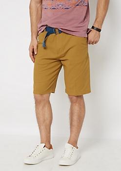 Camel Belted Flex Flat Front Short