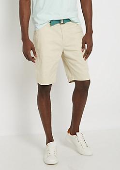 Khaki Belted Flex Flat Front Short