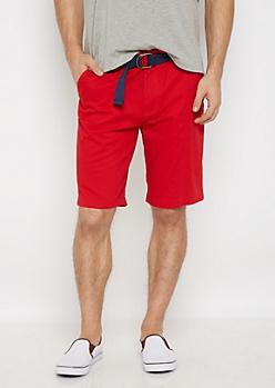 Red Belted Flex Flat Front Short