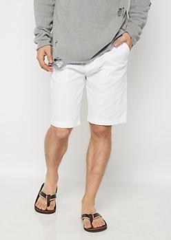White Belted Flex Flat Front Short