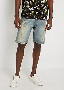 Dirty Washed Destroyed Jean Short
