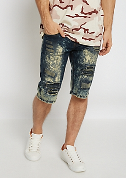 Flex Destroyed Dirty Washed Jean Short