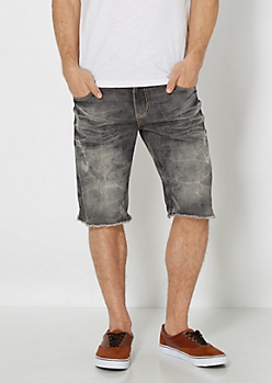 Black Wash Relaxed Jean Short