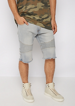 Flex Washed Moto Frayed Jean Short