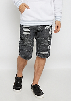 Black Destroyed Vintage Moto Jean Short