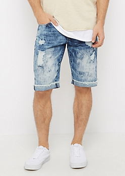 Acid Wash Destroyed Jean Relaxed Short