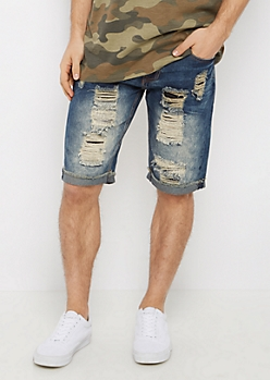 Destroyed & Stitched Jean Short