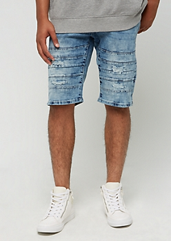 Stitched Hem Ripped Jean Shorts by XRay