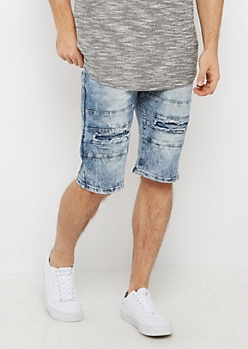 Sliced Panel Acid Wash Jean Short