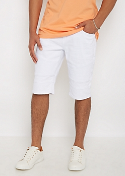 White Twill Moto Short