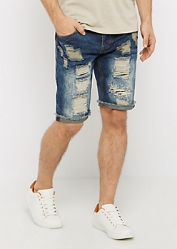 Destroyed & Sandblasted Jean Short