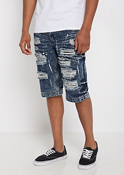 Destroyed & Splattered Jean Short
