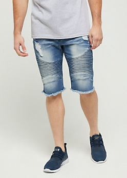 Flex Washed & Ripped Moto Jean Short