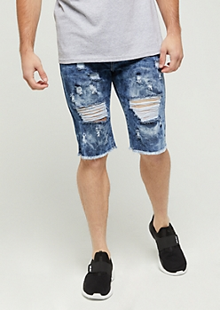Flex Washed & Ripped Jean Short