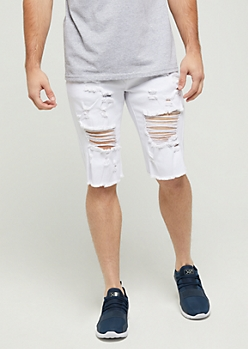 Flex White Ripped Jean Short