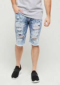 Flex Acid Washed Destroyed Jean Short