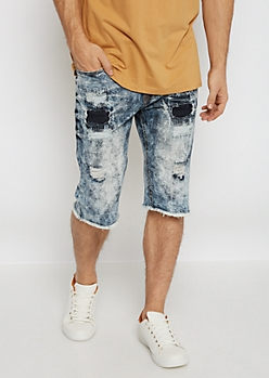 Flex Destroyed Acid Washed Jean Short