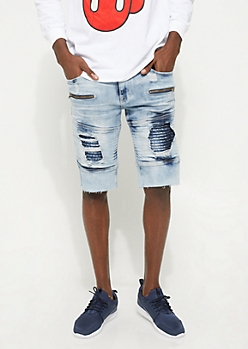 Flex Peekaboo Moto Medium Wash Jean Shorts