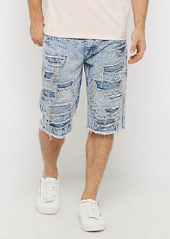 Destroyed Mineral Washed Jean Short