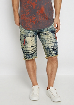 Flex Crackled Zip Pocket Jean Short