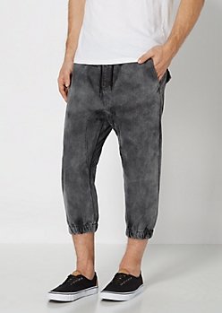 Black Washed Denim Jogger Short