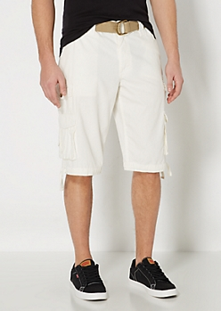 White Pinstriped Longer Length Cargo Short