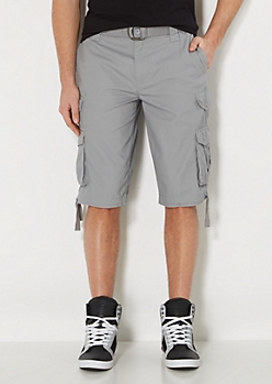 Gray Pinstriped Longer Length Cargo Short